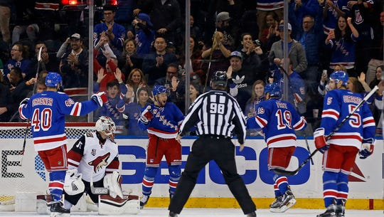 The Rangers (left to right) Michael Grabner, Josh Jooris,