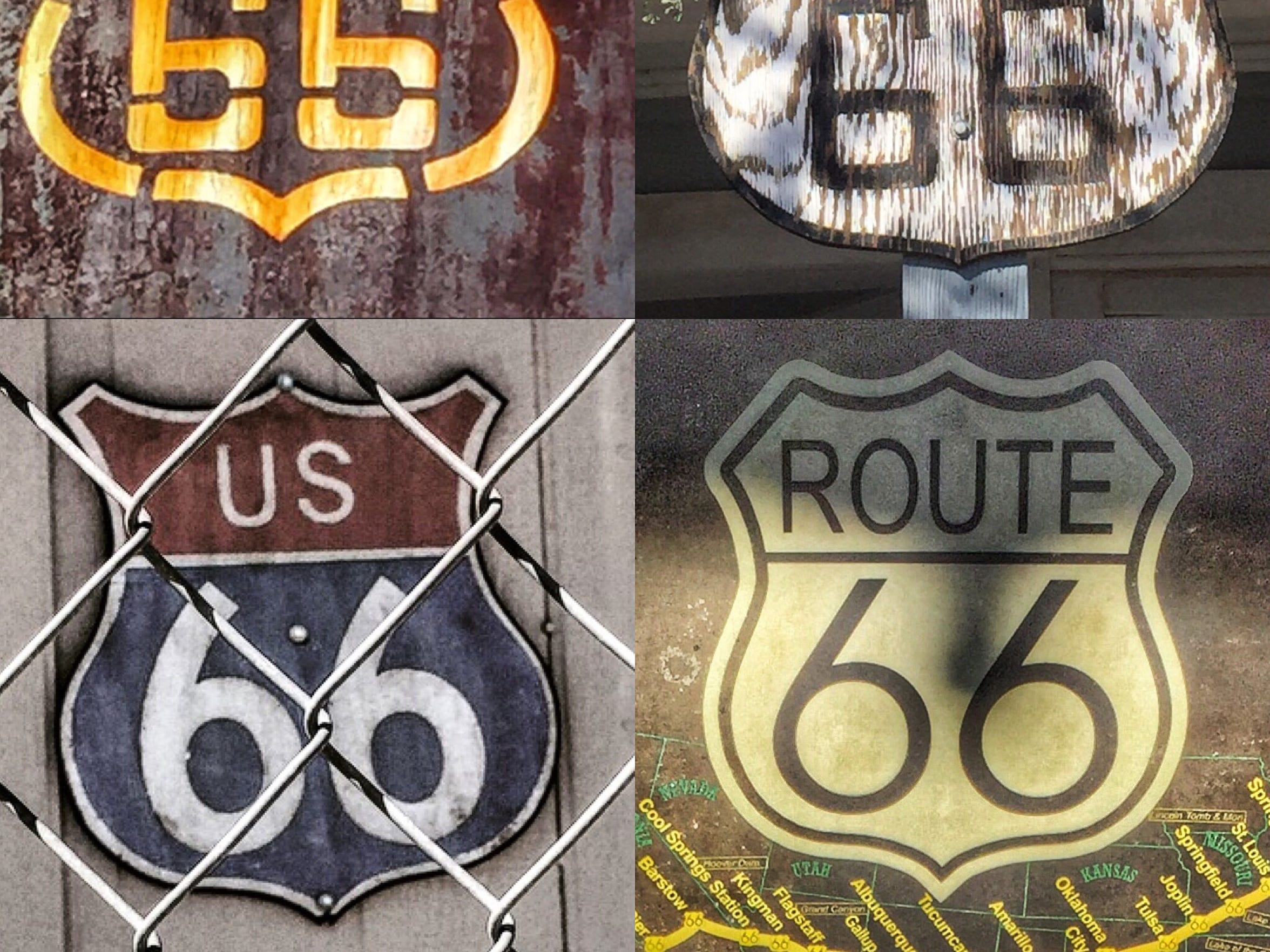 Cruising along Route 66, you'll see markers in many