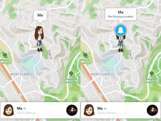 Snapchat's Snap Map enabled to the left, and with Ghost
