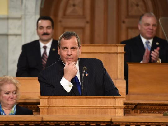 Gov. Chris Christie delivers the State of the State address to the 216th session of the New Jersey Legislature on Jan. 13, 2015.
