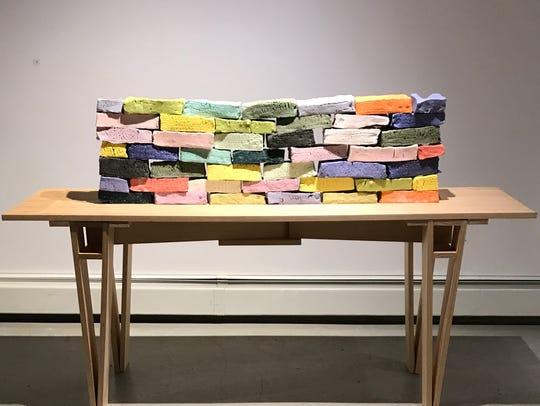 "Adam Welch, ""Bone Brick,"" (2017) bone china and wood"