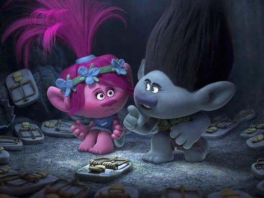 """Trolls"" characters Poppy, left, and Branch will be part of a new stage musical."