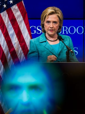 Former Secretary of State Hillary Clinton, seen on stage and in a TV camera's viewfinder, details her support for the Iran Nuclear Agreement during a speech at the Brookings Institute in Washington on Sept. 9, 2015.