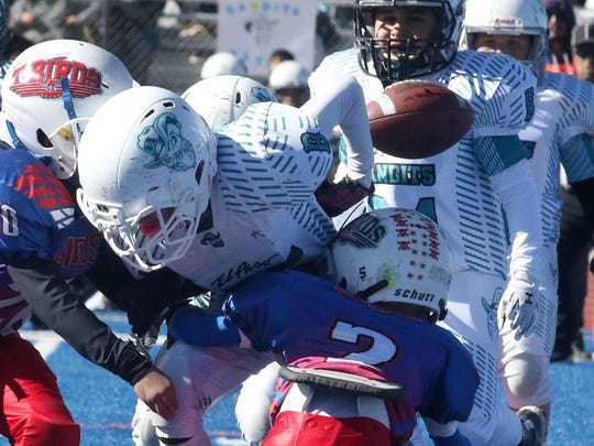 The Southeast T-Bird defense forced a fumble in its Little Bowl Championship game against  the El Paso Bandits in November.