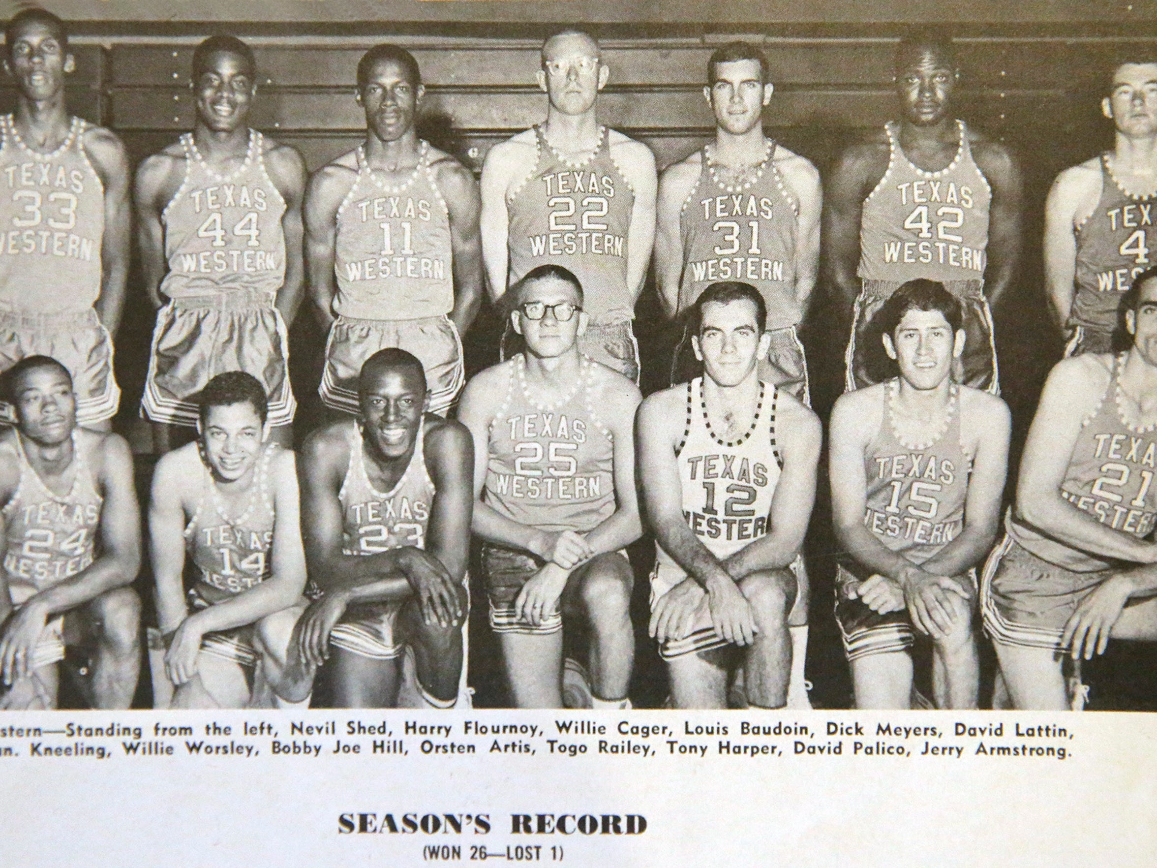 The Texas Western College team photo in the official