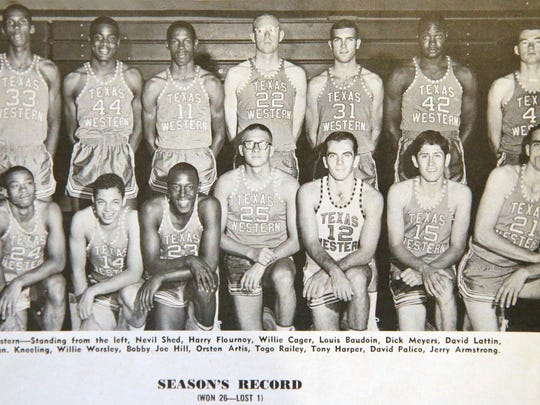 The Texas Western College team photo in the official program sold at the 1966 NCAA Basketball Championship game, which was played at Cole Field House at the University of Maryland in College Park. The Texas Western Miners squared off against the University of Kentucky Wildcats and won the game.