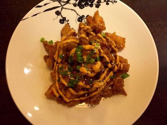 At Bukko, karage tempura fried chicken features swirls