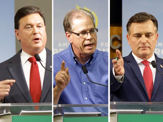 Republican candidates from left: Todd Rokita, Mike Braun and Luke Messer, during a debate on Tuesday, Feb. 20, 2018.