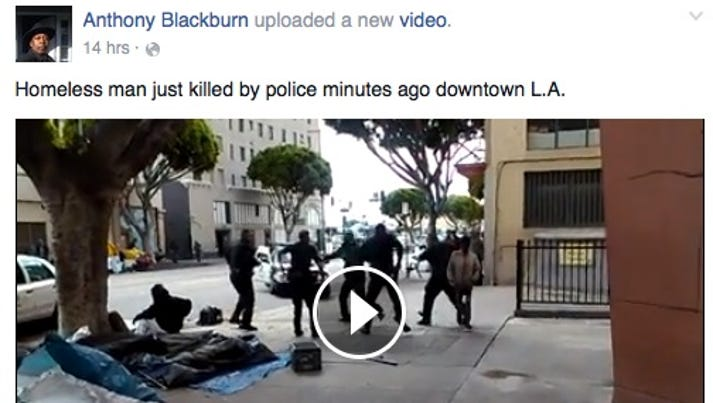 A screenshot from Facebook shows the LAPD shoot and