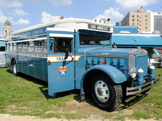 A 1931 Greyhound bus is on display at the Vintage Bus Rally in Downtown Evansville.