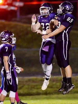 Mitchell's Alex McKinney (89) is one of five Western North Carolina seniors who are looking to walk on with the Western Carolina University football team.
