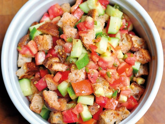 "Spicy Panzanella Salad from the cookbook ""Good and Cheap: Eat Well on $4/Day."""