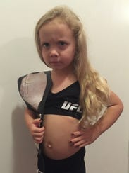 Maveryk Cranford, 3, dressed up as Ronda Rousey for