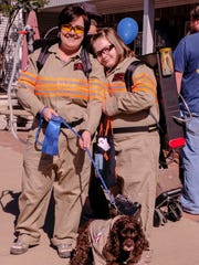 Jeanie Finzer got into the act as she and her daughter, Ashley, along with dog, Buddy, were all dressed as Ghostbusters.