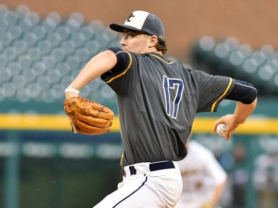 Portage Central High's Jeff Criswell pitches for the West team in the second inning of Tuesday night's All-Star Game at Comerica Park.