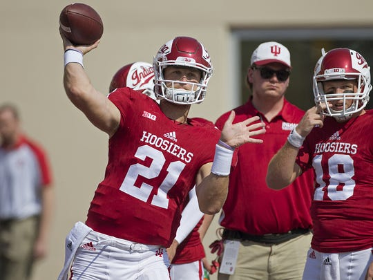Indiana Hoosiers quarterback Richard Lagow (21) warms up pre-game at Memorial Stadium, Bloomington, Ind., Saturday, September 24, 2016. The Hoosiers take on the Wake Forest Demon Deacons.