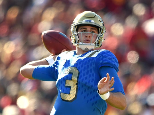 Nov 28, 2015; Los Angeles, CA, USA; UCLA Bruins quarterback Josh Rosen (3) throws a pass against the Southern California Trojans during an NCAA football game at Los Angeles Memorial Coliseum. USC defeated UCLA 40-21. Mandatory Credit: Kirby Lee-USA TODAY Sports ORG XMIT: USATSI-227608 ORIG FILE ID:  20151128_gma_al2_028.jpg