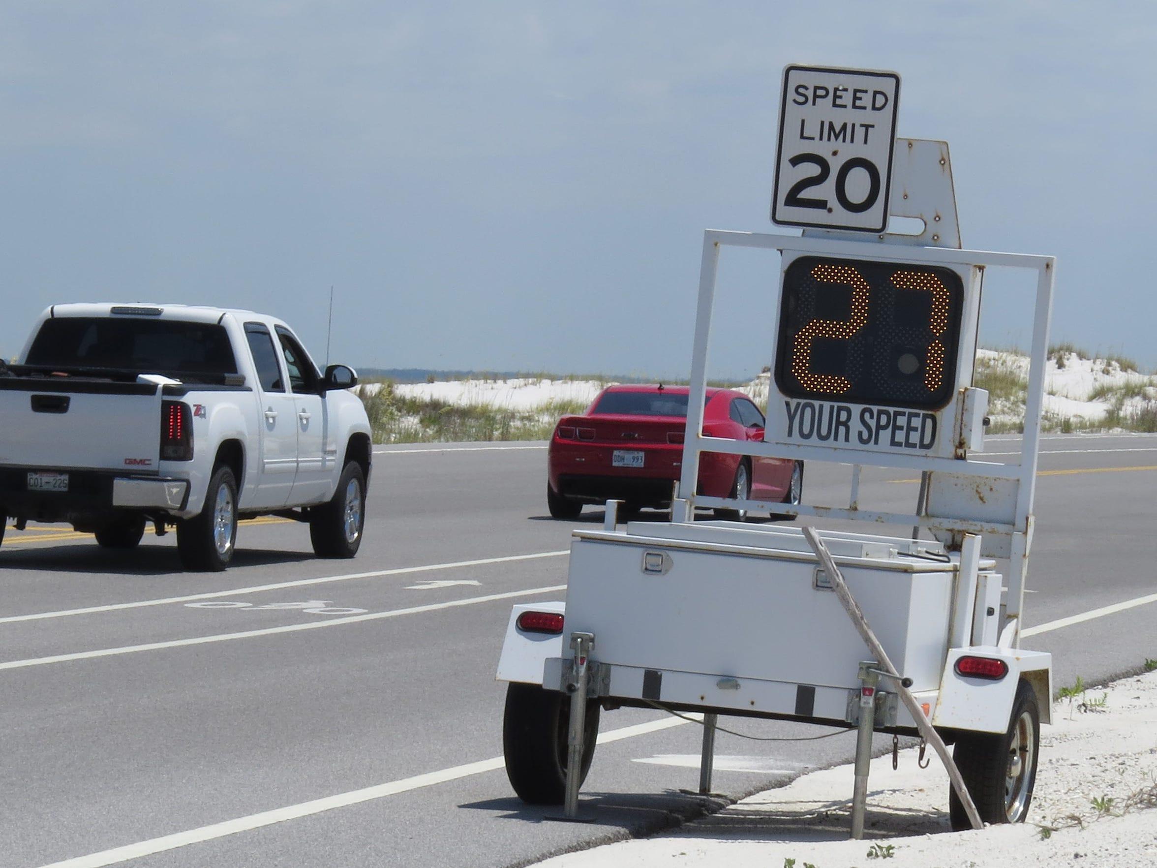 Speed advisory signs are put up around the shorebird