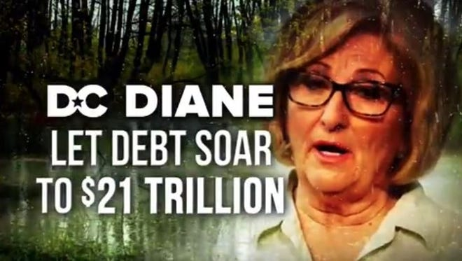 A screenshot from an attack ad against gubernatorial candidate Diane Black, from the campaign of her Republican rival, Randy Boyd.