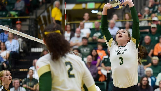 Adrianna Culbert puts the ball up during a game against Wyoming at Moby Arena Tuesday, October 13, 2015.
