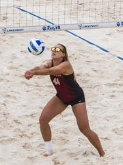 Leigh Andrew goes for a dig during Florida State's CCSA title match against FIU on Sunday afternoon in Emerson, Georgia.