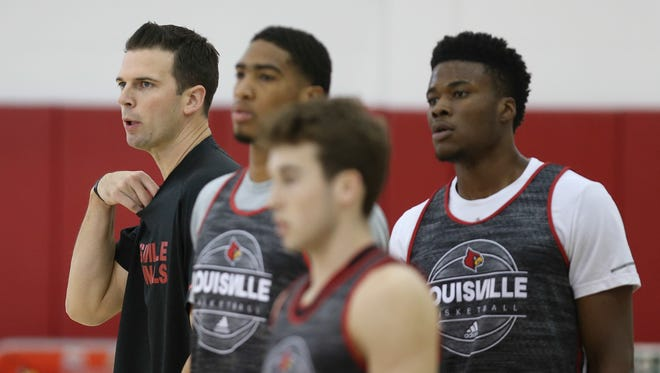 Acting UofL basketball coach David Padgett coaches his team on the practice court. October 4, 2017