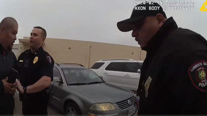 Image captured from officer-worn body camera video, provided by Lubbock ISD.