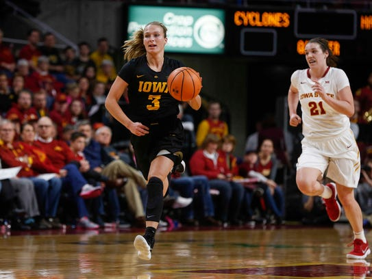 Iowa sophomore Makenzie Meyer moves the ball up the