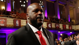Shaquille O'Neal arrives at the Springfield Symphony Hall before the 2016 Naismith Memorial Basketball Hall of Fame Enshrinement Ceremony.