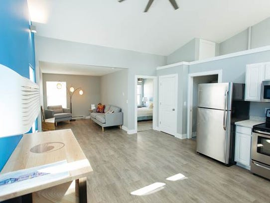 The interior of a 600-square-foot, one-bedroom home