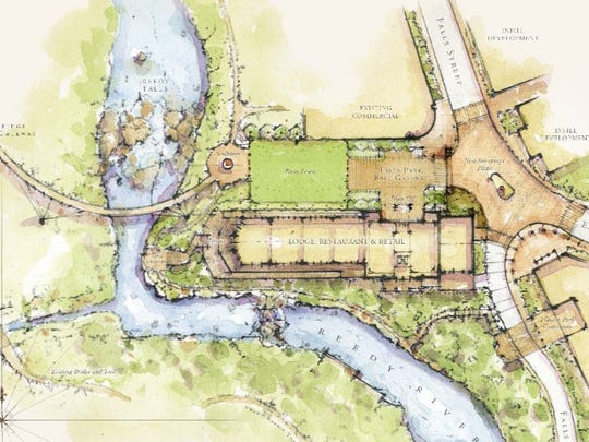 The layout of public improvements associated with the Grand Bohemian hotel that create a public lawn on the entrance of the Liberty Bridge and Falls Street.