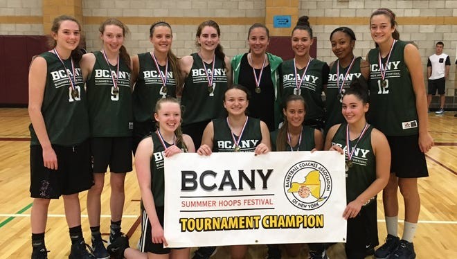Hudson Valley's girls basketball team poses with the banner after winning the BCANY tournament championship game on Sunday at Johnson City.