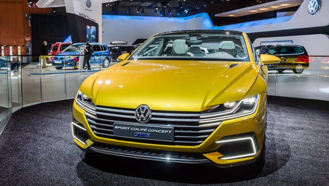 A Volkswagen Sport Coupe Concept GTE on display during the media day of the 94rd European Motor Show in Brussels on Tuesday, Jan. 12, 2016.