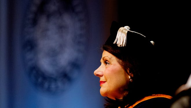 UT Chancellor Beverly Davenport listens during her ÒinvestitureÓ ceremony at the Alumni Memorial Building in Knoxville, Tennessee on Friday, October 13, 2017.