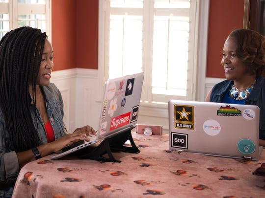 Ashlee Ammons and Kerry Schrader have developed an app called Mixtroz that helps people network more naturally at events. Tuesday, July 18, 2017, in Franklin, Tenn.