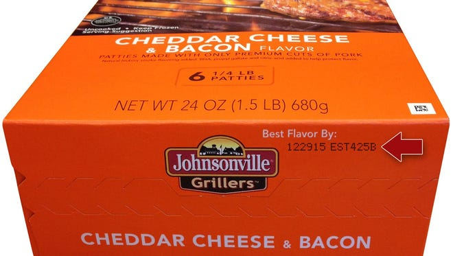 """The products under recall are frozen patties labeled """"Johnsonville Grillers Cheddar Cheese & Bacon Flavor,"""" and have a """"best flavor by"""" date of Dec. 29."""