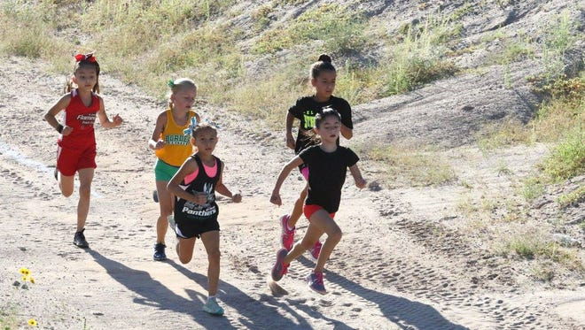 More than 235 runners of all ages participated in the El Paso Flames Cross Country Saturday at Dr. Sue Shook Elementary, 13777 Paseo Del Este. Here, (back to front) Brianna Lopez, Emily Orr, Kareena Talavera, Kylah Dickerson and Aubrey Arsenault competed in the girl's 7-8 year old 2,000-meter run. The winner was Clarissa Castillo with the El Paso Panthers Running Club who finished in 10 minutes, 11.6 seconds.