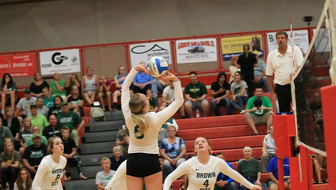 Alexia Mason sets the ball for a teammate during a game this season. Mason is the No. 1 ranked player in the area.