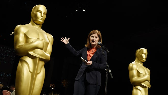 Event producer Cheryl Cecchetto addresses the media at the press preview for the 91st Academy Awards Governors Ball, Friday, Feb. 15, 2019, in Los Angeles.