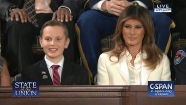 Redding boy Preston Sharp honored by Trump at State of Union speech