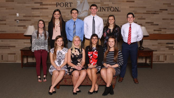 Port Clinton High Schools Class of 2017 Top 10 include, left to right seated, in front,  Rachel Reineck, Hannah Roberts, Meghan Gallogly, and Amelia Morrow.  In back are  Natalie Gottron, Alyssa Krupp, Trevor Frias, Joey Brenner, Courtney Koebel, and Logan Martinez.