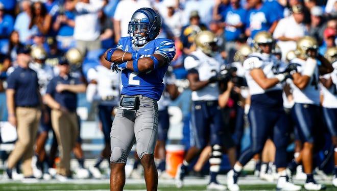 "University of Memphis defender Terrell ""TJ"" Carter celebrates after grabbing a Navy fumble during second quarter action Liberty Bowl Memorial Stadium in Memphis, Tenn., Saturday, October 14, 2017."