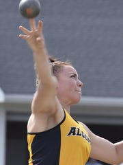 Katelyn Williams of Algoma competes in shot during during the WIAA Division 3 sectional meet at Hilbert on Thursday, May 24, 2018. She advances to state after finishing second in both shot put and discus.