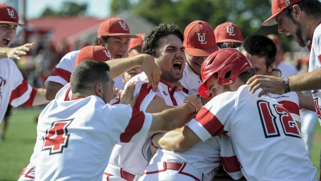 Paul Kieu, Gannett LouisianaUL players celebrate on the field after a walk-off run was scored by infielder Joe Robbins (12) off of a walk by designated hitter Tyler Girouard (9) with the bases loaded in the bottom of the 9th inning to give the team the 2-1 victory over Houston. UL will face LSU in the Super Regional this weekend. UL players celebrate on the field after a walk-off run was scored by infielder Joe Robbins (12) off of a walk by designated hitter Tyler Girouard (9) with bases loaded in the bottom of the 9th inning to give the team the 2-1 victory over the Houston Cougars during an NCAA regional baseball game at the University of Houston in Houston, Tx., Sunday, May 31, 2015.
