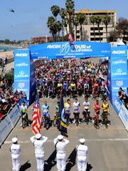 Presentation of the colors before the start of Stage 2 of the Amgen Tour of California at the Ventura Pier on May 14, 2018.