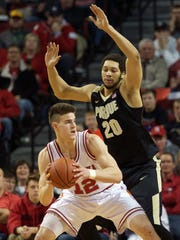 Michael Jacobson, left, pictured in a 2016 Nebraska-Purdue game, transferred out of Lincoln to Iowa State following his sophomore season.
