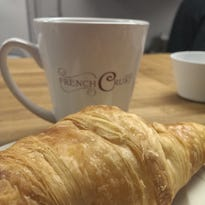 Coffee and a croissant from French Crust Cafe