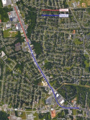 The planned sidewalk would go from Quin Lane to Concord Drive in Phase 1, in red, and from Concord to Cave Street in Phase 2, in blue.