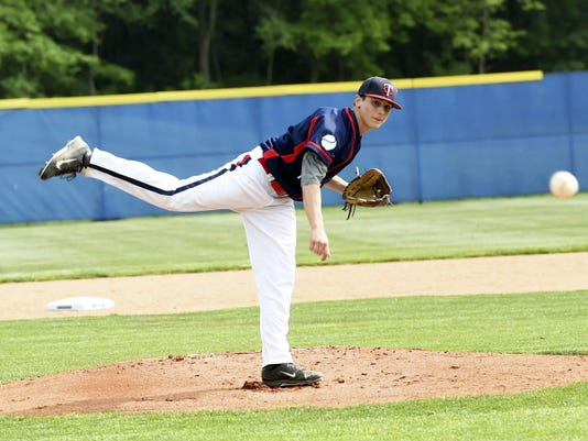 Chambersburg's Tristan Daywalt fires a pitch against Waynesboro on Tuesday. Daywalt (5 innings) and Drew Betz (2) combined for a no-hitter in the 8-0 victory.