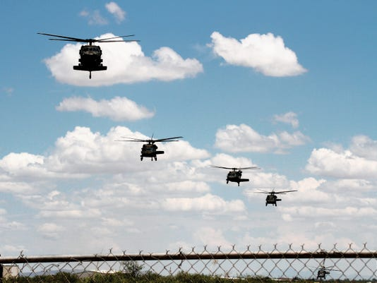 Bill Armendariz — Headlight Photo   Periodically, the roar and rumble of United States military choppers fly in formation over Deming and Luna County. The Deming Municipal Airport provides a refueling depot for many of our armed services air fleets en route to the west or east coast.